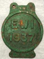 1 Vintage Original Reclaimed 1937 Cast Iron Green RAilway Train Sign Plaque Ew1