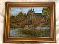Fine Artwork Oil Painting Irish Cathedral Country Pastoral After Augustine Aglio