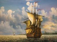 American School Marine Seascape Oil Painting Spanish Galleon Ship Cape Cod Frederick Daniels