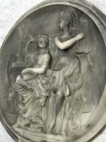 Architectural Vintage French Classical Roman Style Man Woman Lovers Scene Plaque