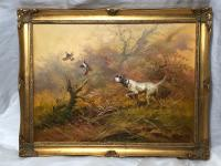 Victorian Style Oil Painting Hunting Gun Dog & Grouse in Flight Listed Artist Eugene Kingman