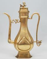 Antique 19th Century Chinese Oriental Kuang-Hsu Guangxu Gilt Bronze Slim Teapot