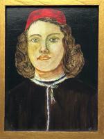 Fine Artwork Religious Oil Painting Portrait Roman Catholic Junior Young Man Cardinal After Botticelli