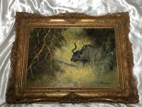 Original Artwork Oil Painting Greater Kudu Antelope Wild Animal Bush South Africa School G.Uys (21 of 22)