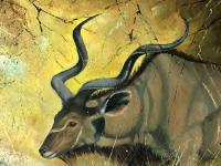 Original Artwork Oil Painting Greater Kudu Antelope Wild Animal Bush South Africa School G.Uys (15 of 22)