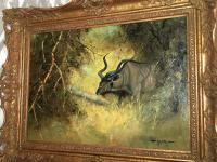 Original Artwork Oil Painting Greater Kudu Antelope Wild Animal Bush South Africa School G.Uys (6 of 22)