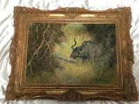 Original Artwork Oil Painting Greater Kudu Antelope Wild Animal Bush South Africa School G.Uys (4 of 22)