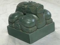 Vintage Oriental Green Resin Temple Foo Dog Chinese Seal Stamp Ming Style Ornament Sculpture