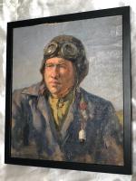"Fine Art Russian School 20th Century Wall Art Oil Painting Portrait ""the Pilot"""