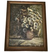 "Fine Art South African School Oil Painting Still Life ""Daisies"" Listed John Smith"