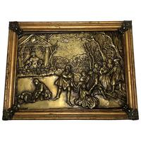 Antique Brass Pictorial Scene Medieval Mythology Framed Wall Plaque Sculpture