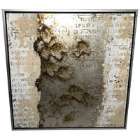 Chinese Abstract Calligraphy Distressed Nature Leaves Painting Zhenggang Gallery