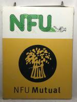 Large 20th Century Original Double Sided National Farmers Union Mutual Enamel Sign (3 of 34)
