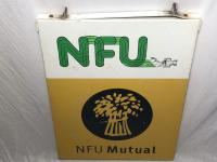 Large 20th Century Original Double Sided National Farmers Union Mutual Enamel Sign (14 of 34)