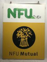 Large 20th Century Original Double Sided National Farmers Union Mutual Enamel Sign (4 of 34)