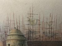 Early Victorian 19th Century Maritime Watercolour Liverpool Mersey Ships St George's Basin T Hargreaves (7 of 35)