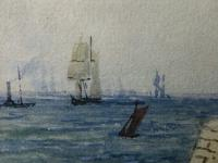 Early Victorian 19th Century Maritime Watercolour Liverpool Mersey Ships St George's Basin T Hargreaves (22 of 35)