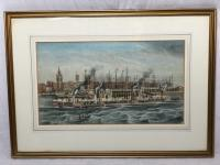 Antique Victorian 19th Century Watercolour Painting Liverpool Paddle Ferry Ships Mersey Mcgahey (4 of 24)