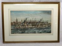 Antique Victorian 19th Century Watercolour Painting Liverpool Paddle Ferry Ships Mersey Mcgahey (3 of 24)