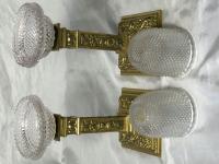 Pair RAre Victorian Clarke's Cricklite Gilt Bronze Cut Glass Domed Shades Fairy Lamps Candelabra's (39 of 48)