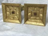 Pair RAre Victorian Clarke's Cricklite Gilt Bronze Cut Glass Domed Shades Fairy Lamps Candelabra's (24 of 48)