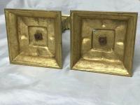 Pair RAre Victorian Clarke's Cricklite Gilt Bronze Cut Glass Domed Shades Fairy Lamps Candelabra's (15 of 48)