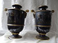 Pair Superb Antique Victorian Porcelain Zeus Chariot Pegasus Horses Vases Gold & Black