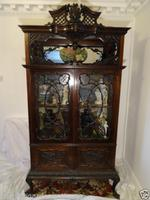Large Fine Carved Antique Chippendale Style Display Cabinet Mahogany Magnificent