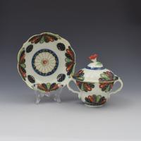 First Period Worcester Porcelain Old Japan Fan Chocolate Cup, Cover & Stand c.1770