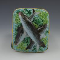 Victorian George Jones Majolica Sardine Box Turquoise Ground (7 of 11)