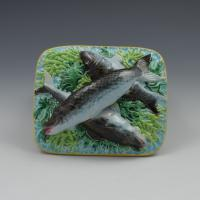 Victorian George Jones Majolica Sardine Box Turquoise Ground (8 of 11)