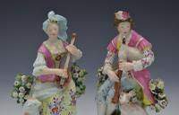 Pair Early Derby Figures Pair Sitting Piper & Guitar Model 301 18th Century (8 of 13)