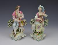 Pair Early Derby Figures Pair Sitting Piper & Guitar Model 301 18th Century