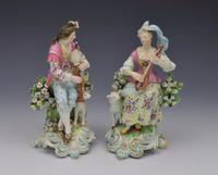 Pair Early Derby Figures Pair Sitting Piper & Guitar Model 301 18th Century (13 of 13)