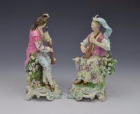 Pair Early Derby Figures Pair Sitting Piper & Guitar Model 301 18th Century (12 of 13)