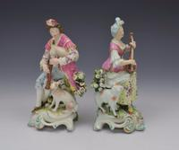 Pair Early Derby Figures Pair Sitting Piper & Guitar Model 301 18th Century (9 of 13)