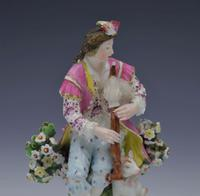 Pair Early Derby Figures Pair Sitting Piper & Guitar Model 301 18th Century (6 of 13)