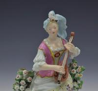 Pair Early Derby Figures Pair Sitting Piper & Guitar Model 301 18th Century (7 of 13)