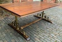 Unusual Dining Table Gothic Brass Supports Pine Top