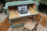 Old Pine / Painted Secretaire / Home Office / Computer Desk / Study - We Deliver