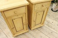 Quality Pair of Large Old Antique Pine Bedside Cabinets / Cupboards. We Deliver! (4 of 9)