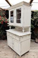 Fabulous Old Victorian Two Piece Pine / White Painted Dresser / Cupboard - We Deliver! (3 of 13)