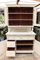 Fabulous Old Victorian Two Piece Pine / White Painted Dresser / Cupboard - We Deliver! (7 of 13)