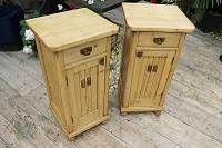 Superb!! Pair of Old Stripped Pine Bedside Cabinets / Cupboards - We Deliver! (2 of 9)