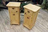 Superb!! Pair of Old Stripped Pine Bedside Cabinets / Cupboards - We Deliver! (9 of 9)