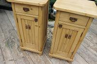 Superb!! Pair of Old Stripped Pine Bedside Cabinets / Cupboards - We Deliver! (3 of 9)