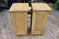Superb!! Pair of Old Stripped Pine Bedside Cabinets / Cupboards - We Deliver! (6 of 9)