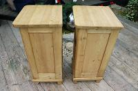 Superb!! Pair of Old Stripped Pine Bedside Cabinets / Cupboards - We Deliver! (7 of 9)