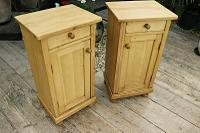 Large Pair of Old Stripped Pine Bedside Cabinets / Cupboards-We Deliver! (2 of 9)