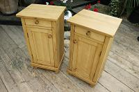 Large Pair of Old Stripped Pine Bedside Cabinets / Cupboards-We Deliver! (3 of 9)